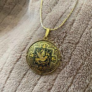 Vintage gold black Spanish bird damascene necklace
